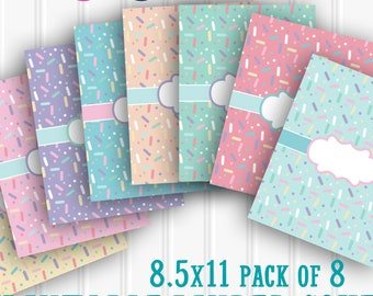 Binder Cover Printables Sprinkles SET 8.5X11-JPG and PNG (no editable text)-8 binder covers and matching backings  planner recipe school etc