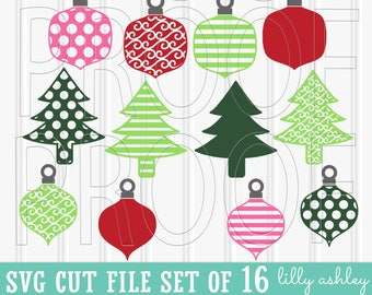 Christmas SVG Files Set of 16 cut files includes svg/png/jpg formats! Commercial use approved! ornament svg woodland svg christmas tree svg