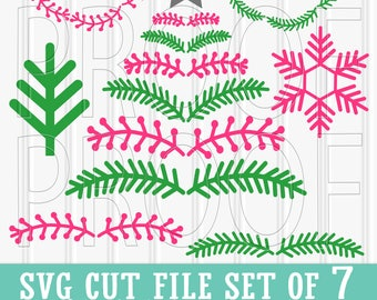Christmas SVG Files Set of 7 cut files includes svg/png/jpg formats! Commercial use approved! woodland svg tree svg snowflake svg wreath