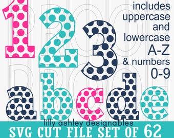 SVG File set of 62 cut files-Dot Letters A-Z Upper/Lowercase/Numbers 0-9 SVG/png/jpg letter svg monogram svg {colors for display only}