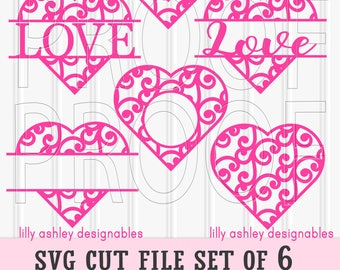 Heart SVG Files Set of 6 cut files includes svg/png/jpg formats! Commercial use approved monogram svg heart svg heart clipart elements