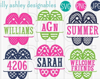152f5492ad9e31 SVG Files Flip Flop SVG Set includes 7 cutting files With Blank Center   SVG png jpg  beach svg monogram summer svg  colors for display only