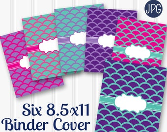 Binder Cover Mermaid Pattern Printable SET of 6-8.5x11 JPG Blank center (not editable) files for printing Covers backings & spines included.