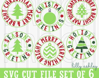 Christmas SVG Files Set of 6 cut files includes svg/png/jpg formats! Commercial use approved! Holiday svg Christmas tree svg ornament svg