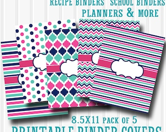 Binder Cover Printables SET of 5 includes 5 matching backings 8.5X11-JPG Format (not editable).  great for planner cover recipe binder etc