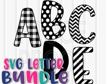 Monogram SVG Letter Bundle of 5 uppercase sets SVG/PNG chevron letter buffalo plaid stripe polkadot and solid a-z! plaid svg chevron svg