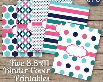 Binder Covers Printable SET of 5-8.5x11 JPG Blank center (not editable) files for printing. Covers & backings included. planner school etc