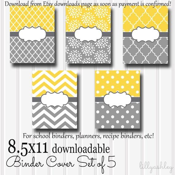 printable binder covers set of 5 8 5x11 jpg format not etsy