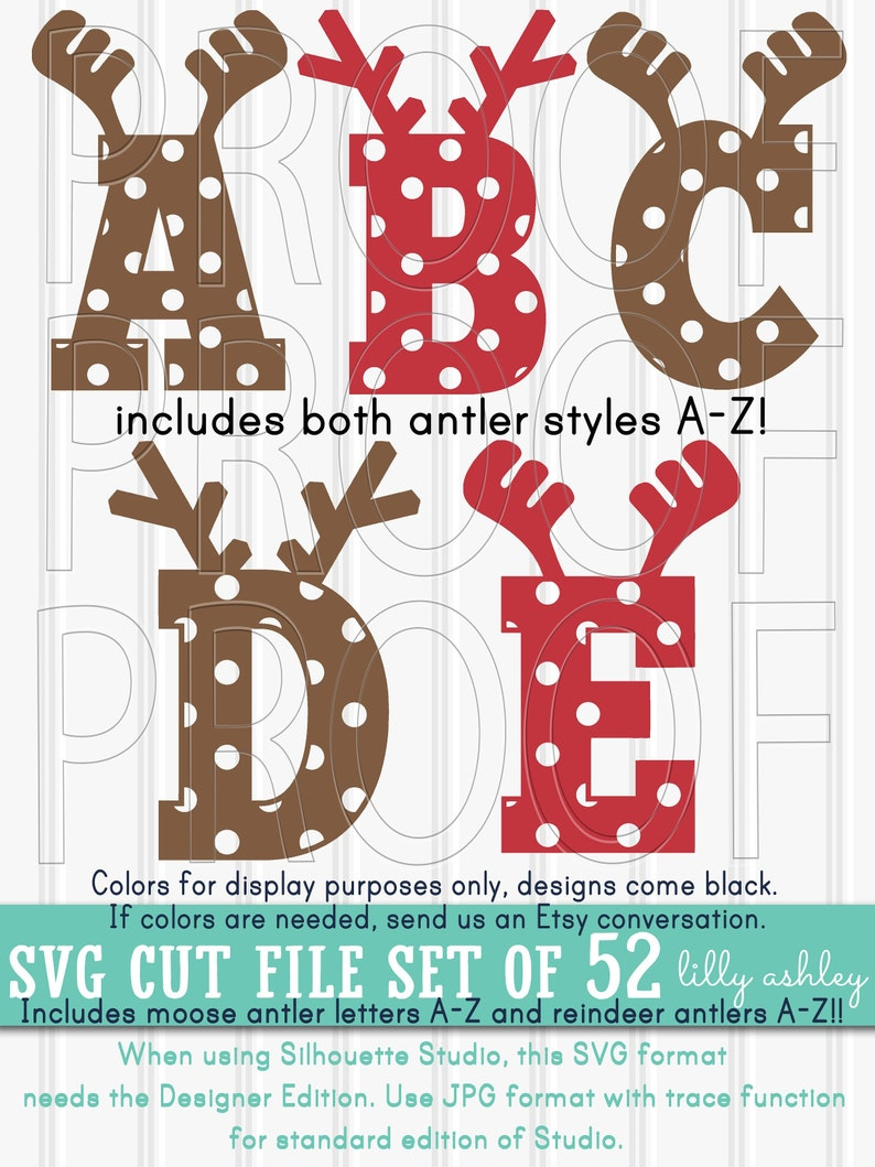 Christmas Monogram SVG set of 52 cut file Letters-Reindeer image 0