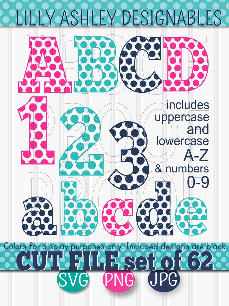 SVG File set of 62 cut files-Dot Letters A-Z image 0