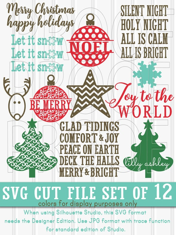Christmas Svg Files Set Of 12 Svg Cut Files Svg Png Jpg Etsy
