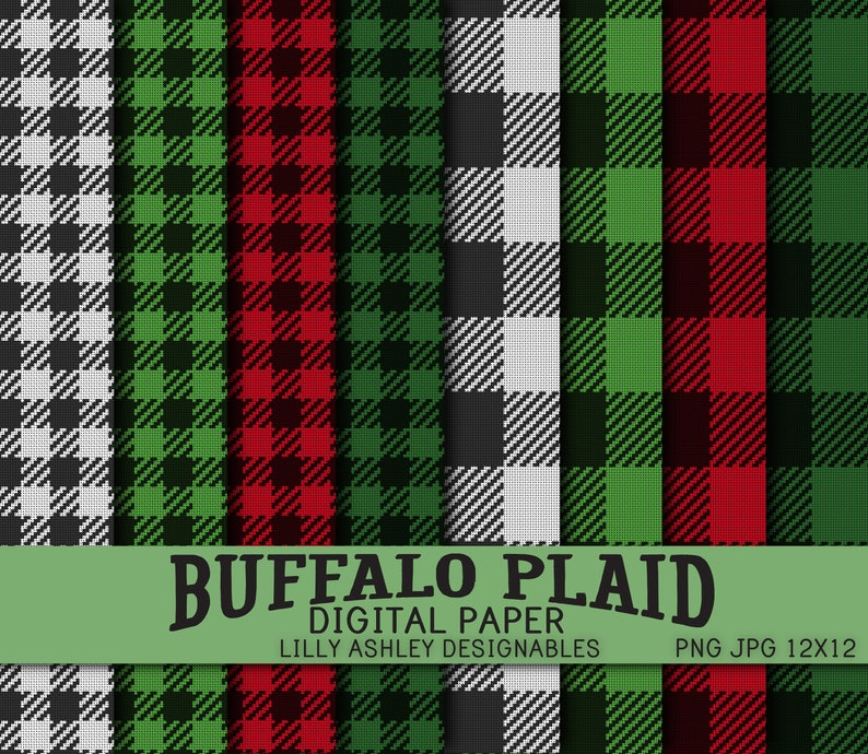 Buffalo Plaid Digital Paper Pack of Eight-JPG and PNG formats image 0