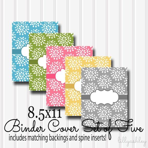 Printable Binder Covers SET-8.5x11 JPG-Five Binder Covers