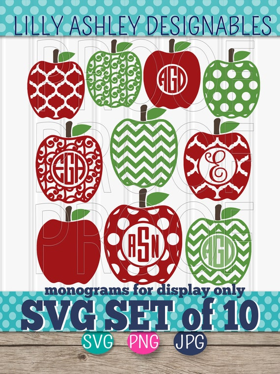 Apple Svg Files For Monograms Svg Set Of 10 Cut Files Etsy