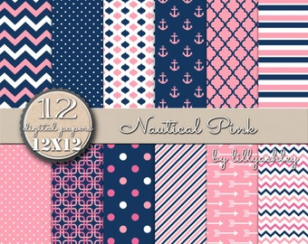 Digital Paper Pack of 12--JPG format--12x12 Commercial use ok! Nautical digital paper navy digital paper chevron digital paper anchor arrow