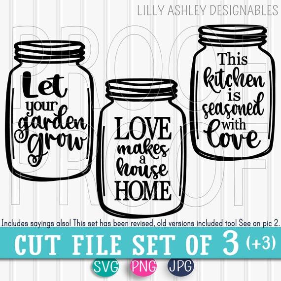 Svg Files Set Of 33 Cut Files Mason Jar Cut Filesincludes Etsy