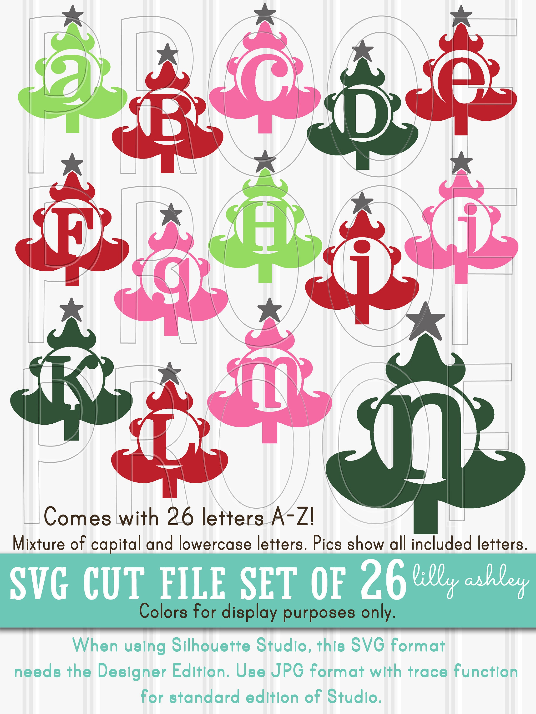 Christmas SVG Files Set of 26 Christmas Tree Letter cut files | Etsy