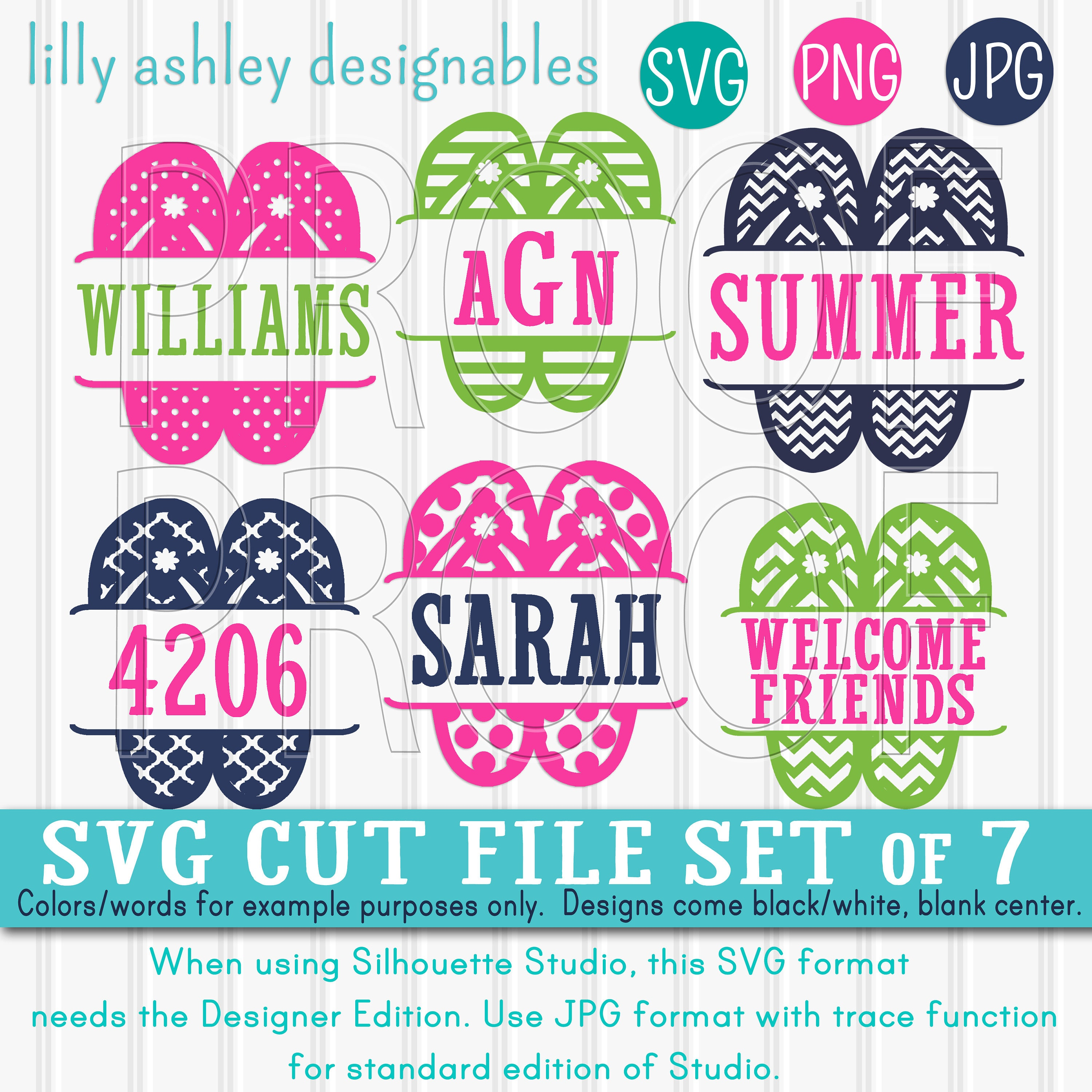 SVG Files Flip Flop SVG Set includes 7 cutting files With | Etsy