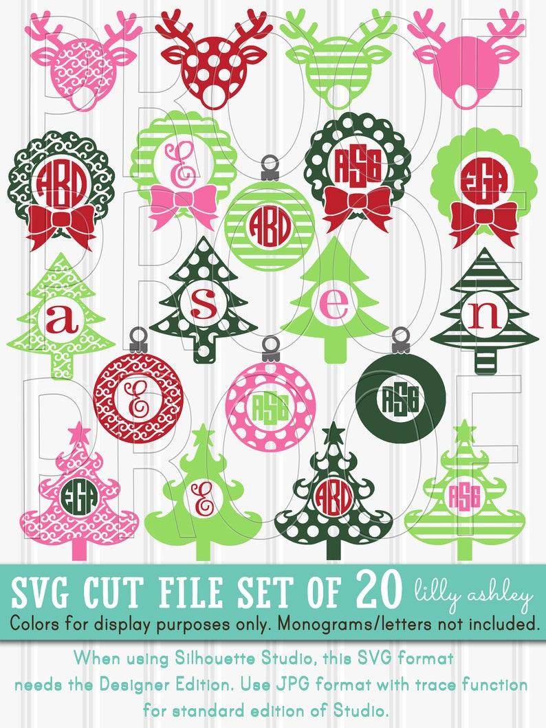 Christmas Monogram SVG Files set of 20 cut files svg/png/jpg image 0