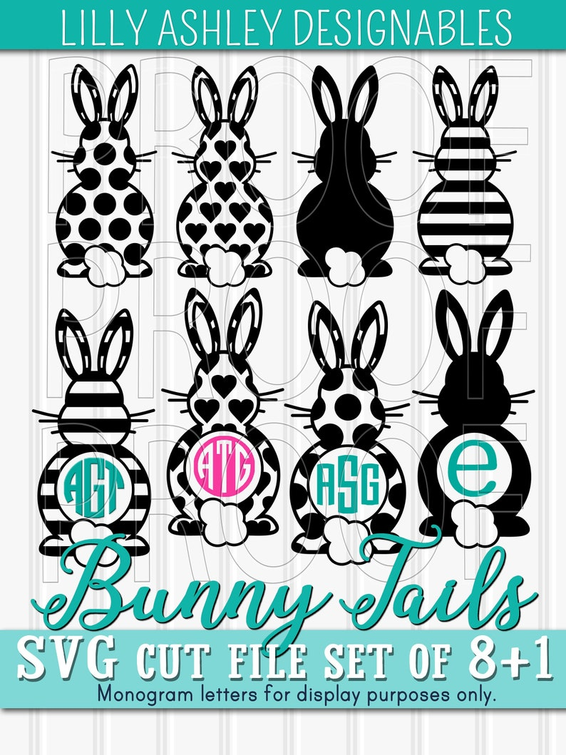 Monogram SVG Files Set of 81 Cut Files with PNG and JPG Bunny image 0
