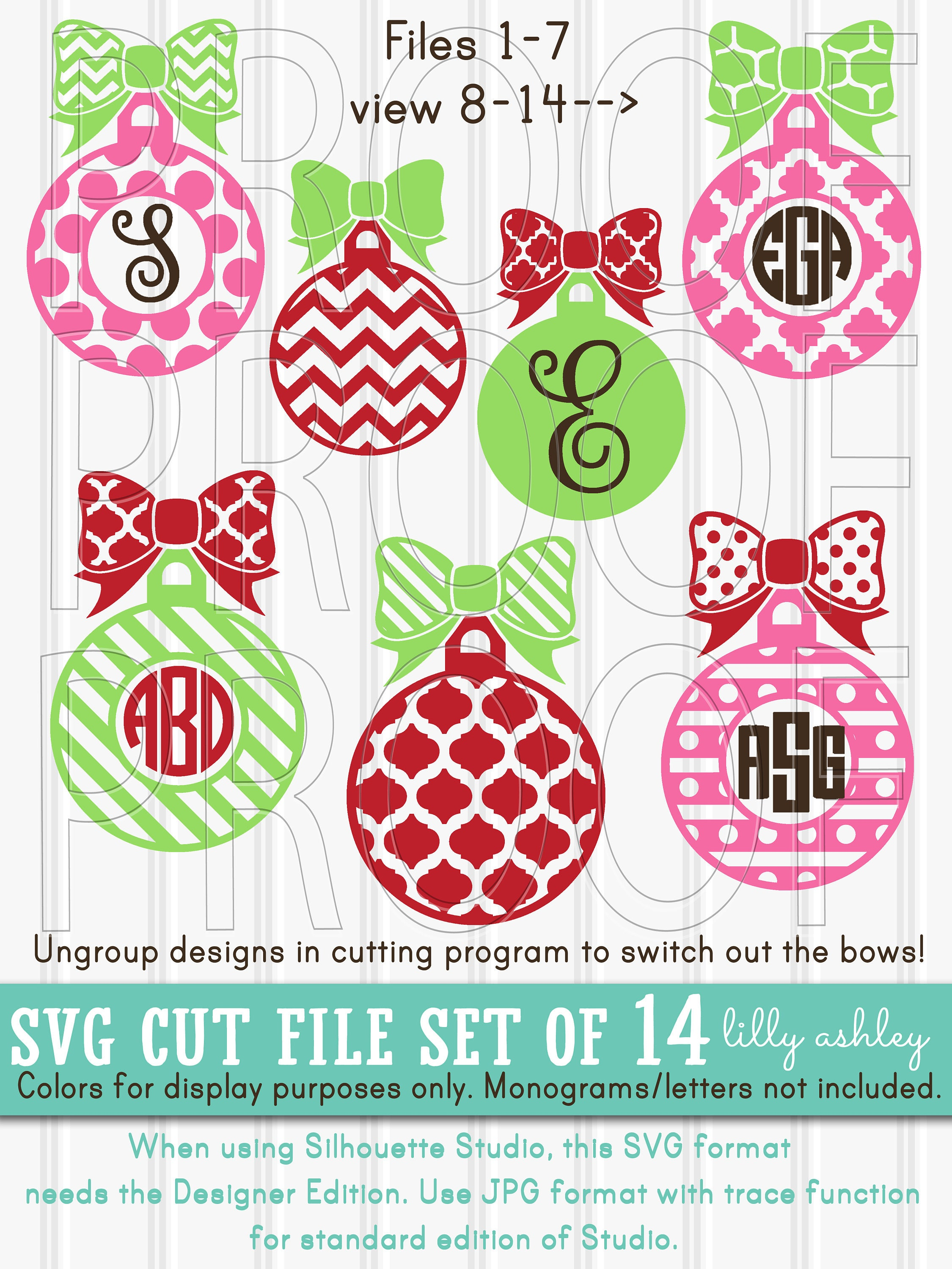 Christmas Monogram SVG Files Set of 14 cut files includes | Etsy