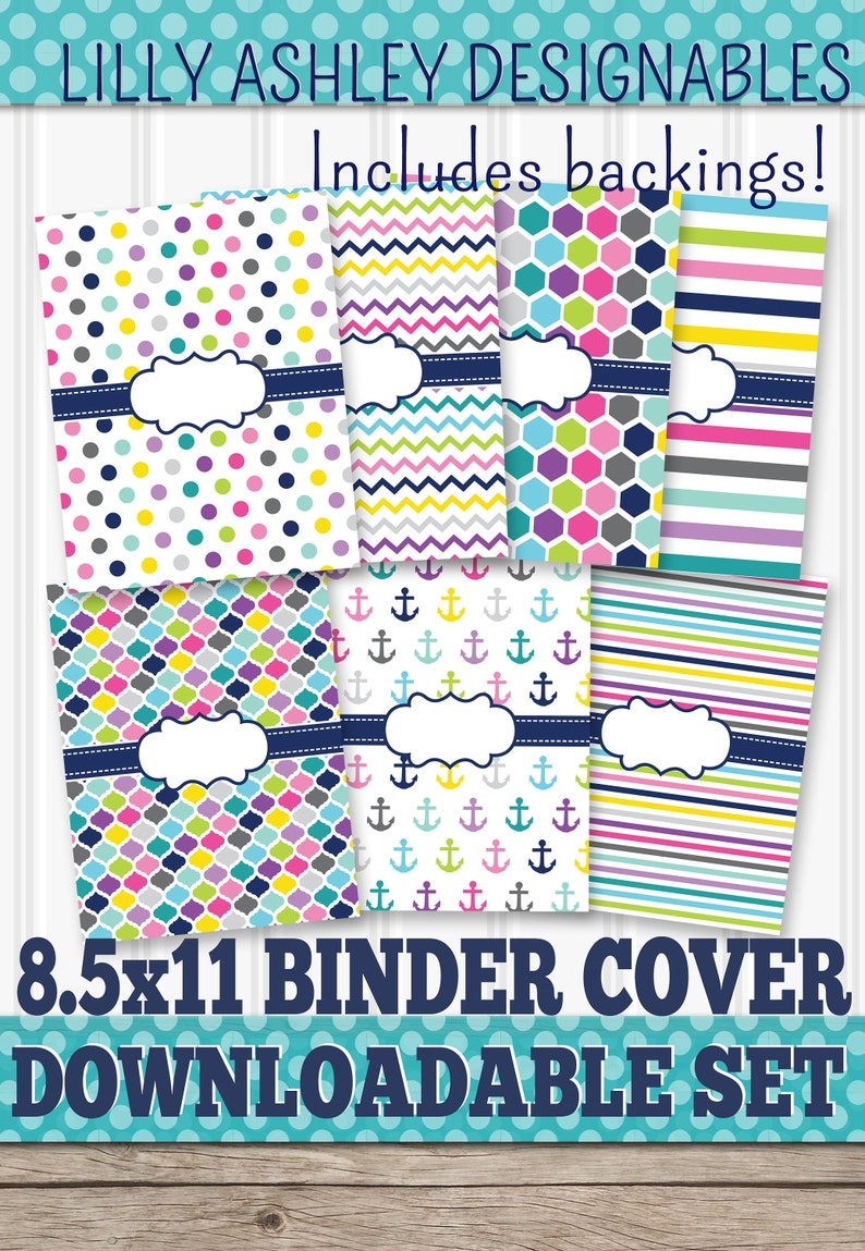 Binder Covers Printable SET of 7-8.5x11 JPG Blank center not image 0