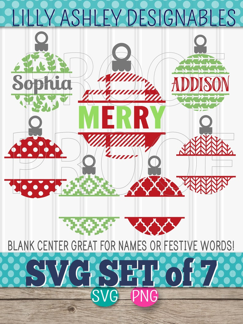 Ornament SVG Files Set of 7 blank center cut files svg/png image 0