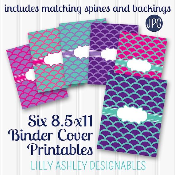 Binder Cover Mermaid Pattern Printable SET Of 6 85x11 JPG