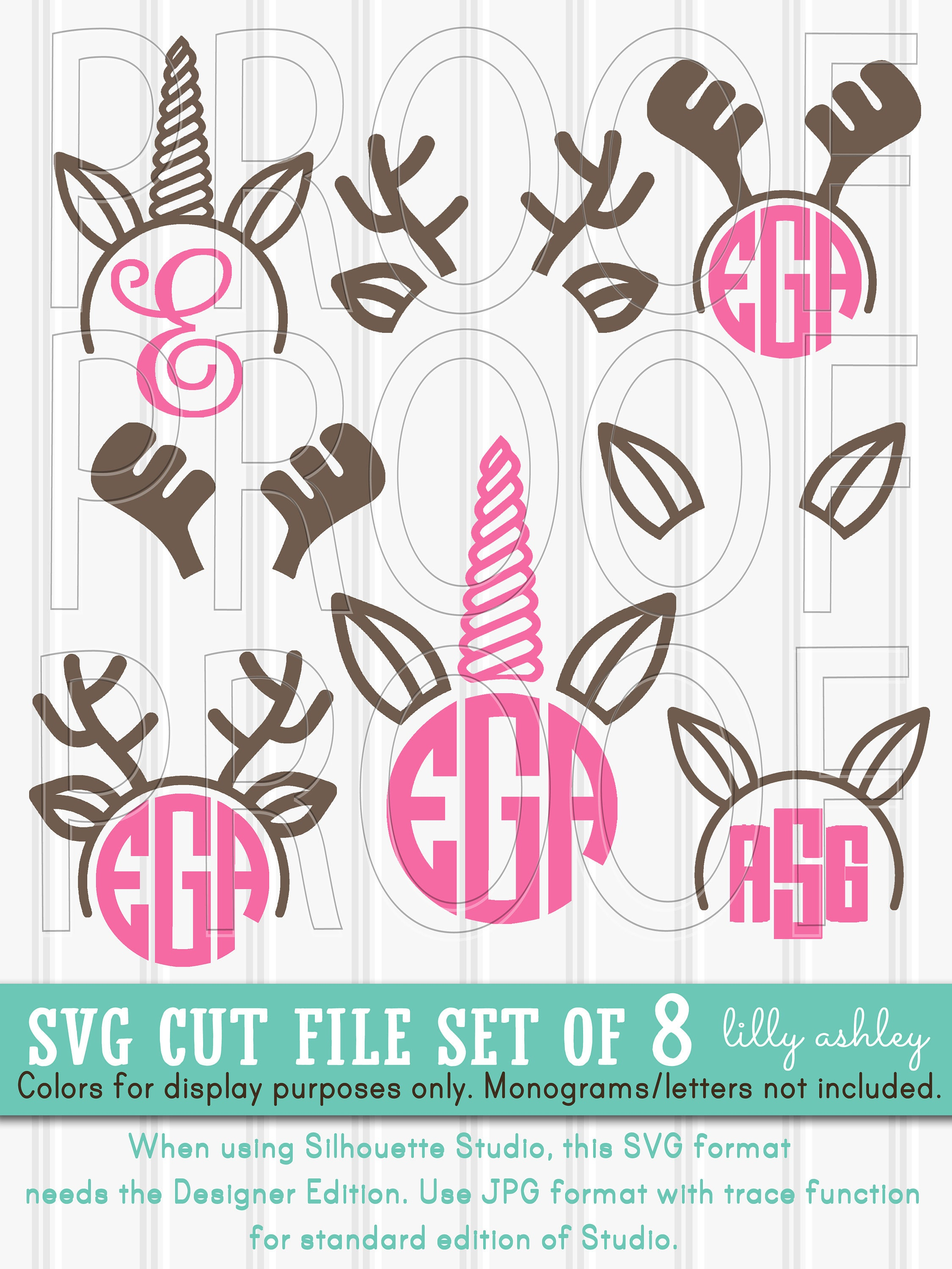 Monogram SVG Files Set of 8 cut files includes svg/png/jpg