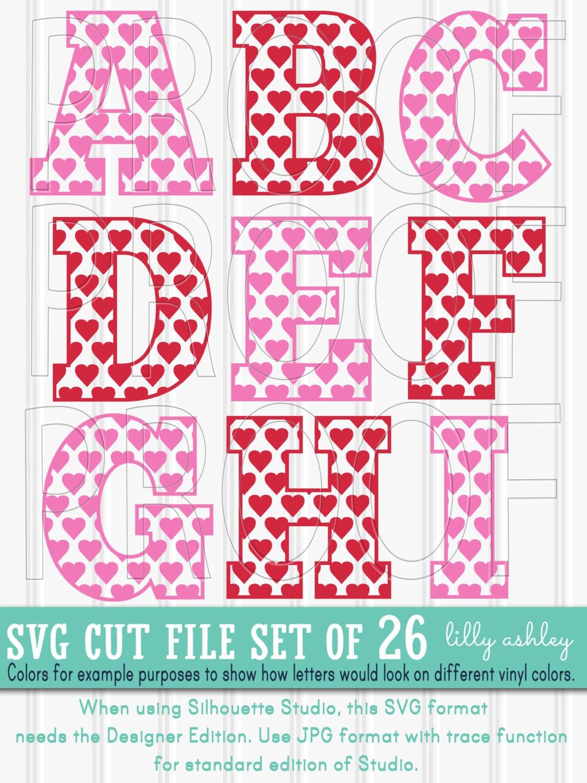 Letter SVG set of 26 cut files-Heart Letters A-Z SVG PNG jpg | Etsy