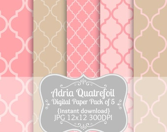 Quatrefoil Digital Paper Pack of 5--12x12 JPG Commercial Use Digital Paper Quatrefoil Digital Paper Pink Quatrefoil Paper Tan Brown