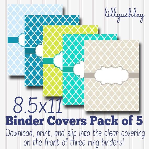 downloadable binder covers set of 5 quatrefoil etsy