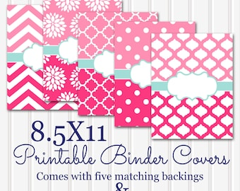 Printable Binder Covers SET 8.5X11-JPG Format (not editable)-Includes 5 binder covers, 5 matching backs, spine inserts 3 sizes.