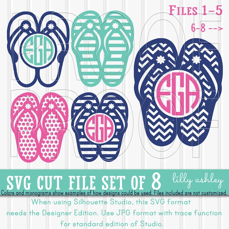 b86aacf02d86 Flip Flop Monogram Frame Set includes 8 cutting files
