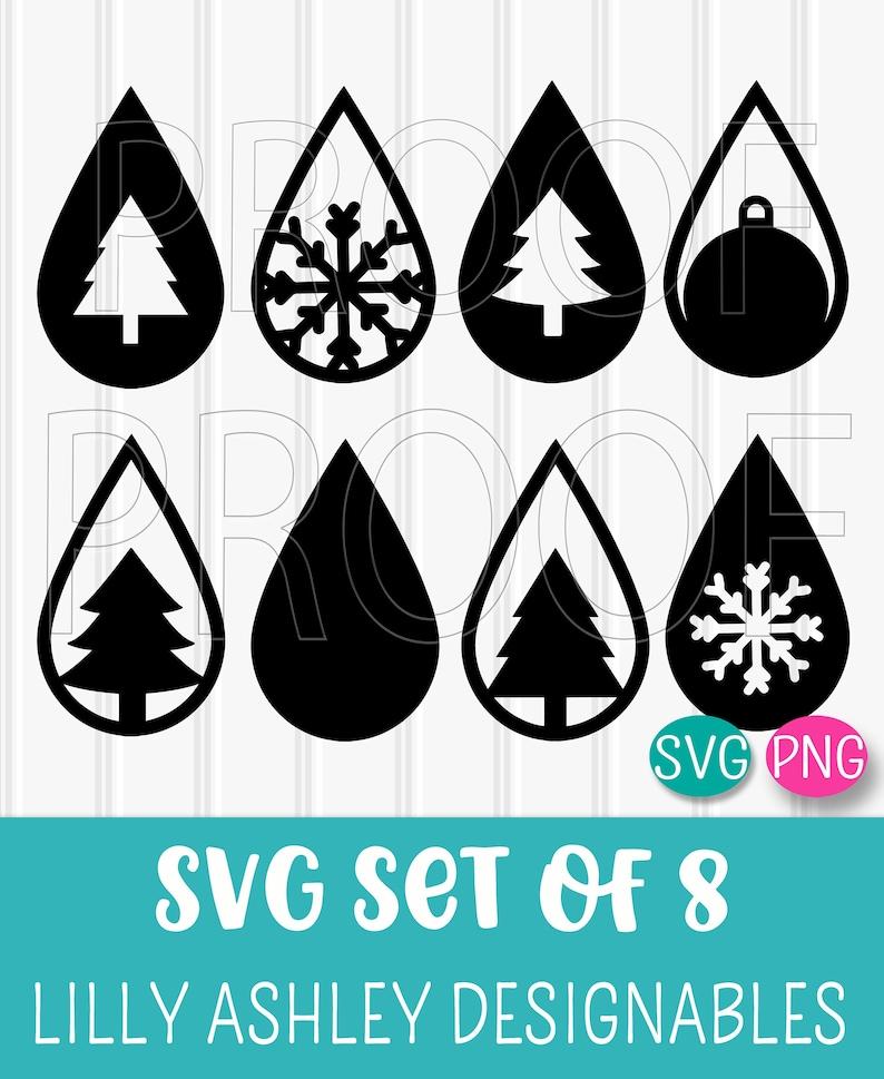 Teardrop SVG Cut File Set of 8 svg/png formats. Christmas svg image 0