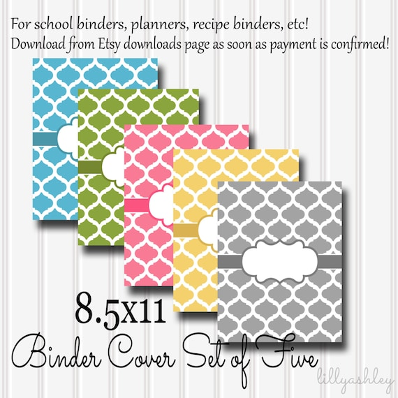 downloadable binder covers set of 5 8 5x11 jpg format not etsy