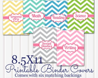 Printable Binder Covers SET 6 subjects! 8.5x11 JPG (not editable) format downloadables. Covers, matching backings and spines-3 spine sizes