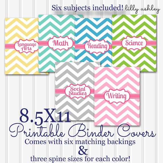 Printable Binder Covers SET 6 Subjects 85x11 JPG Not
