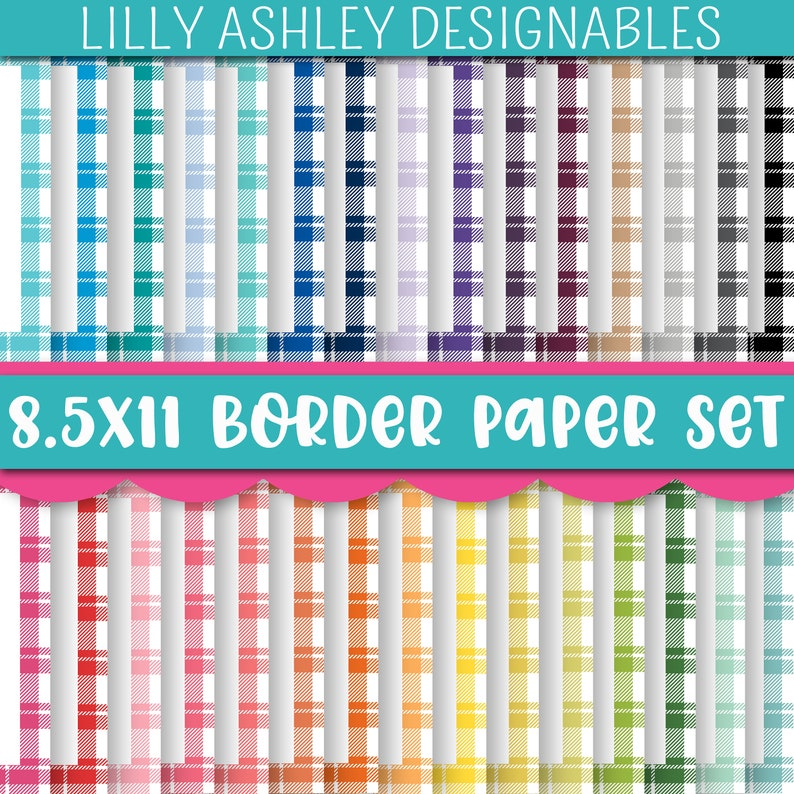 Plaid Border Paper Printable Pack of 30PDF and PNG image 0