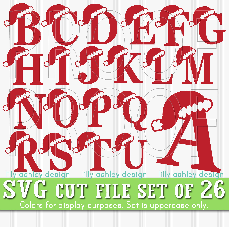 Christmas SVG set of 26 cut file Letters-Santa hat svg letters   Etsy
