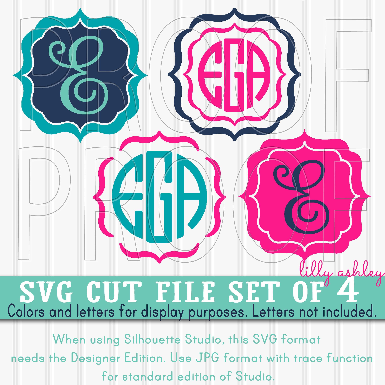 Monogram SVG Files Set of 4 cutting files SVG/JPG formats | Etsy