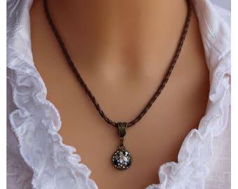 Round crysta medallion, tiny pendant, delicate necklace, brown pendant, epoxy clay charm, glass globe, eco friendly retro pendant