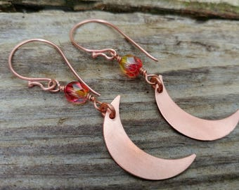 Copper Crescent Moon Dangle Earrings with faceted glass beads
