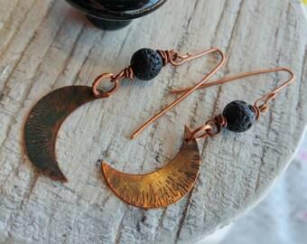 Dark Patina Copper Crescent Moon Dangle Earrings with black lava rocks