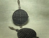 Vintage Cast Metal Waffle Iron - Wear-Ever - Rustic Kitchen Decor