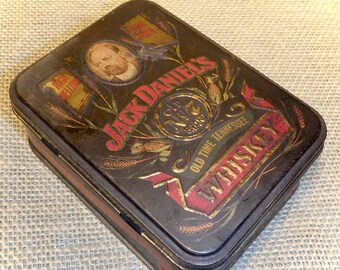Jack Daniel's Old No. 7 Brand Whiskey Tin with Two Empty Miniatures - Vintage Decorative Display Tin