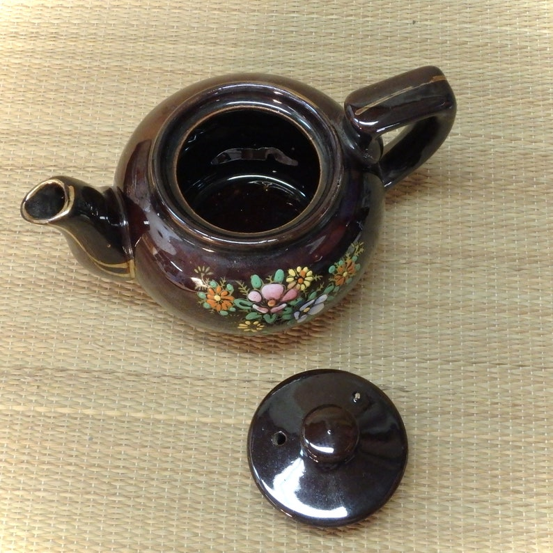 Made in Japan Vintage Teapot Brown Ceramic with Moriage Hand Painted Design