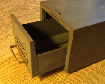 Vintage Industrial Office, Style all Metal Card File Box, Gray, Steelmaster, Stackable