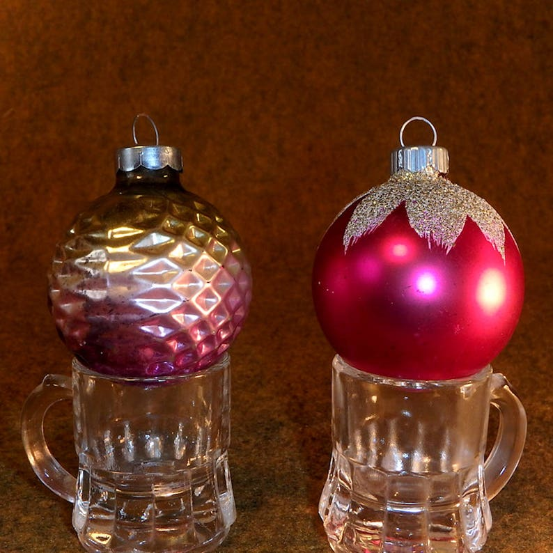 2 Mercury Glass And Mica Christmas Ornaments Vintage Striped Shiny Brite Made In Usa