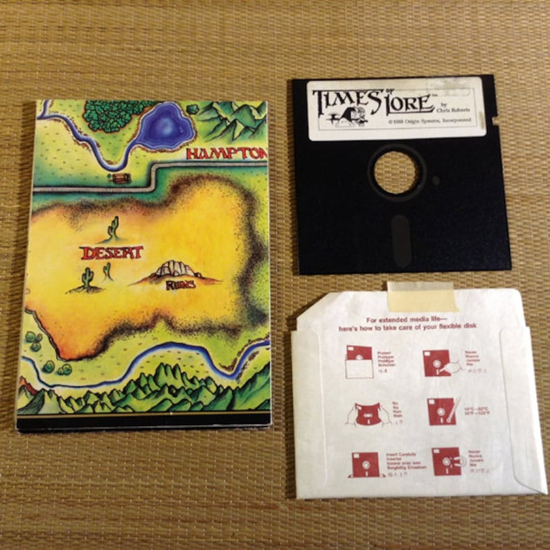 Vintage Wall Map for Times Of Lore an old Adventure PC Game on 5 1/4